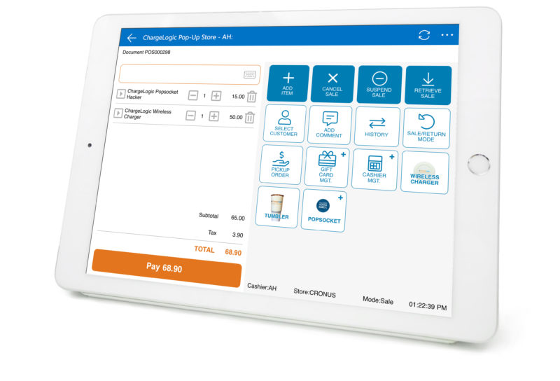 Chargelogic Retail Express POS Screen on tablet