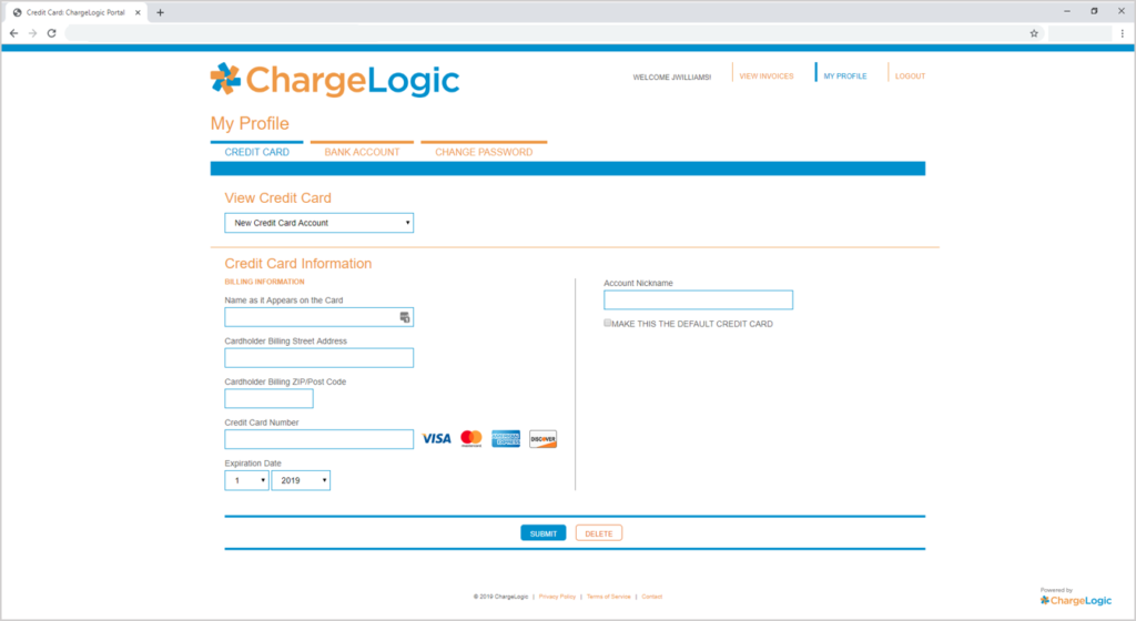 ChargeLogic Invoice Payment Portal Profile Page for Credit Card Payment
